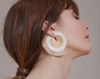 Front back statement earrings - SAVANNAH - Geometric fringe chunky earrings, textured circle disk. Unusual tiki jewelry bold unusual earring