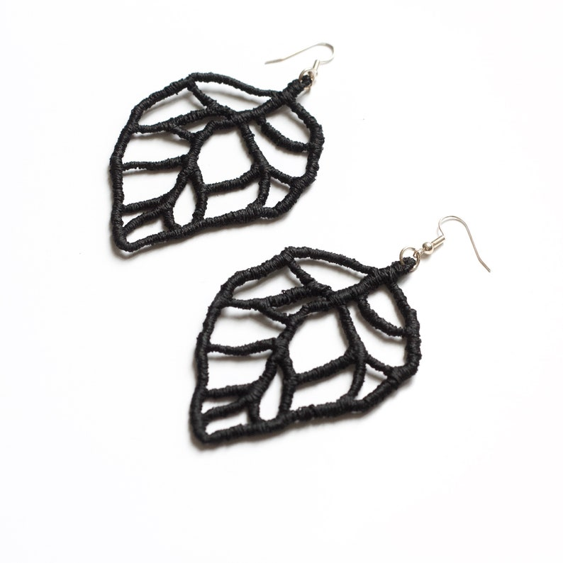 Lace earrings  Leaf veins  Stiffened black lace statement image 1