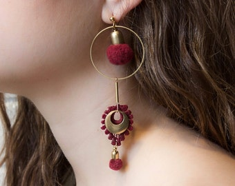 Pompom earrings -ARTILLERY- asymmetrical, mismatched earrings boho black, white, olive khaki, raspberry red pom pom & lace statement earring