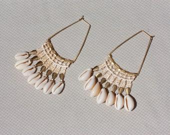 Statement earrings -COWRIE EARRINGS- Large unusual bold vintage lace & seashell dangling cowrie shell hoop earrings. Boho beach fringe style