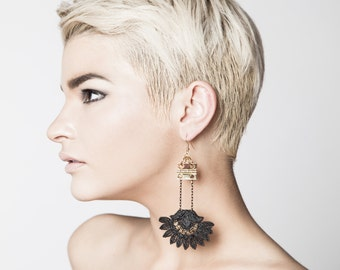 Black lace earrings - WANDERLUST - Statement earrings in black or white lace & brass hinge hardware. Unusual dramatic Art Deco Edie earrings