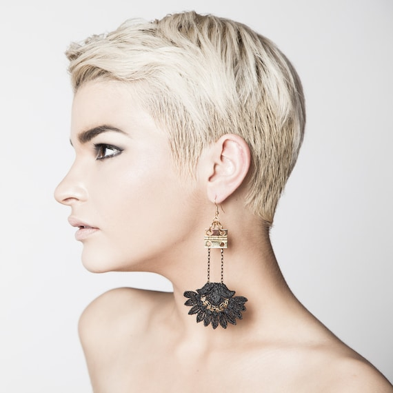 4606d5a0b9d Lace earrings WANDERLUST Black or white lace with golden