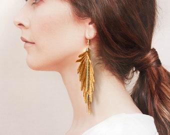 Lace earrings - PARROT - Statement earrings Bold dangling vegan feather crochet tatting macrame fabric earrings gold vintage chain long boho
