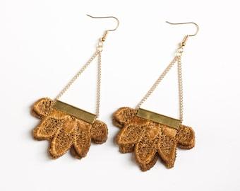 Lace earrings - NIGHTSIDE - Mustard ochre statement earrings. Flower crochet earrings chunky fabric rustic boho wedding Best selling items.