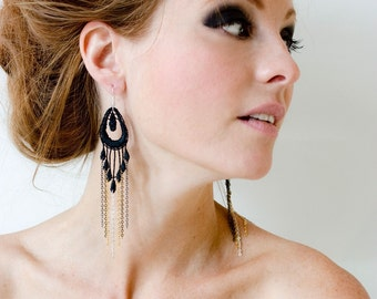 Lace earrings - GLAMOUR - Black lace with gradient of chain steampunk & retro style statement earrings dangling long and vintage jewelry