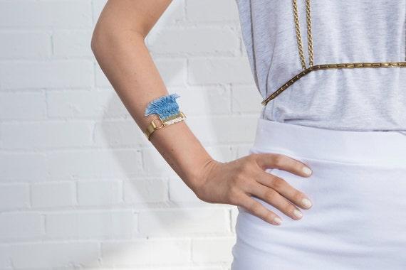 Lace Bracelet Riptide Vintage White Lace Denim Fringe Macrame And Raw Brass Macrame Bracelet Summer Jewelry Gypsy Vintage Boho