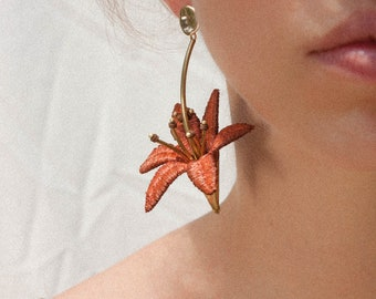 Statement earrings -LILIUM EARRINGS- Large unusual bold vintage lace floral dangling flower botanical lily chunky daylily bridal easter