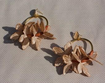 Lace hoop earrings -KUI EARRINGS- Light weight Dainty statement earrings large dangling floral flower botanical gardenia chunky bridal