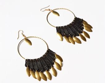 Boho lace earrings -ELLE- Statement earrings vintage lace hippie bold hoop earrings brass black fringe gypsy earrings feather light unique