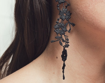 Mismatched black lace earrings - HOLLYHOCK - Light weight lace asymmetrical flower statement earrings Cali style hand dyed plant earrings