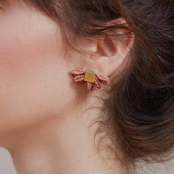 Pink earrings large earrings eco earrings gift circle earrings textile jewelry blush earrings big earrings delicate earrings