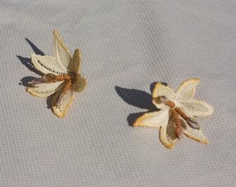Floral lace earrings -LAELIA- Large weightless flower earrings. Botanical stud statement earrings. Unusual tropical mother of pearl nacre