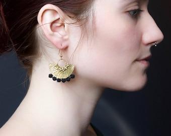 Brass statement earrings - POIRET - White black pink terracotta teal or mustard vintage lace & brass African earrings wearable art boho