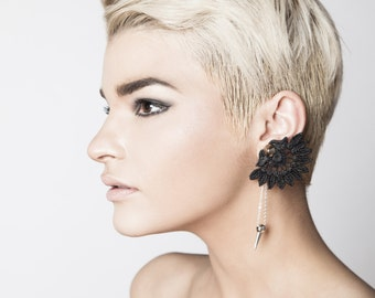 e156a763f84 Lace earrings - EAR SPIKE - Black lace with silver (single earring) front  back earrings asymmetrical earrings black earrings