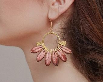 Dusty rose lace earrings Statement earrings ombre pink -MOJAVE- large rustic boho wedding prom crochet bold bridal flower chunky earrings
