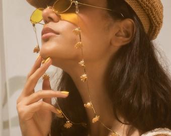 Glasses & mask chain - SILENE - lace floral boho sunglass strap. Eyeglass retainer, mask holder, Summer accessory flower power 70s.