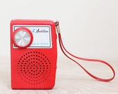 Red Audition Transistor Solid State AM Radio Cute 60s Portable Radio w Strap Works Also Makes a Great Prop