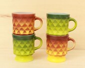 Four Mid Century Fire King Kimberly Mugs Green and Yellow Anchor Hocking Ombre Stacking Cups Diamond Pineapple Pattern