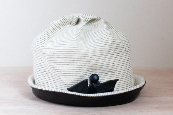 Elsa Schiaparelli Cloche Hat/ White & Black Stripe