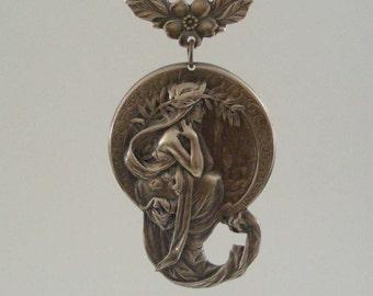 Vintage Pendant - Art Nouveau Pendant - Vintage Brass Stamping -  Jewelry Making - Jewelry Supplies - handmade pendant