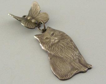 Vintage Jewelry - Vintage Pendant - Cat Kitten Butterfly PENDANT -  Brass Pendant - DIY Necklace - DIY Earrings - Handmade