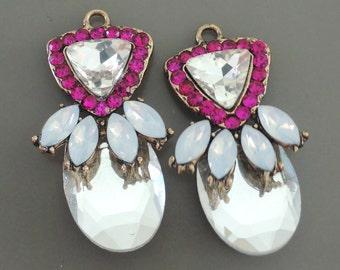 Earring Findings - Opal Earring Pendant Antique Gold Earring Drop Pendant Bright Pink Rhinestone Earring Pendant Earring Compoent Findings