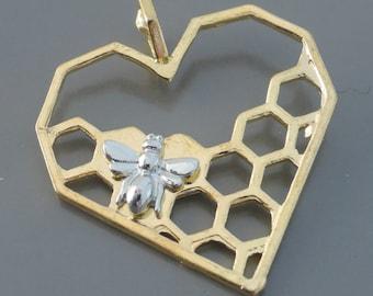Gold Pendant - Heart Pendant - Honey Bee Pendant - DIY Necklace - Large Pendant - Honeycomb - Mixed Metal Pendant