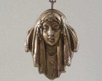Vintage Pendant - Art Deco Pendant - Large Brass Stamping for Necklace - Handmade