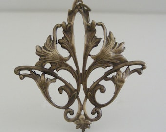 Vintage Pendant -  Art Nouveau Pendant - Brass Stamping - Vintage Brass Finding - DIY Necklace