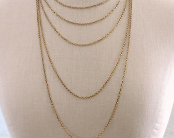 Vintage Necklace - Brass Necklace - Chain Necklace - Cable Link Chain - Handmade Jewelry Supplies