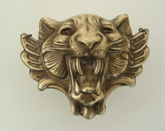 Vintage Pendant - Lion Necklace - Tiger Jewelry - Vintage Brass Pendant - Brass Stamping - LEO Necklace - DIY Necklace