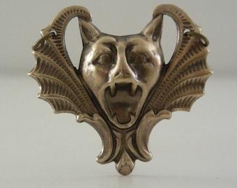 Vintage Pendant - Bat Jewelry -  Bat Pendant - Vintage Stamping - Brass Stamping - DIY Necklace - Bat Necklace