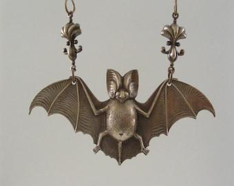 Vintage Pendant - Bat Pendant - Vintage Brass  jewelry - Large for Necklace - Brass Stamping - handmade jewlry