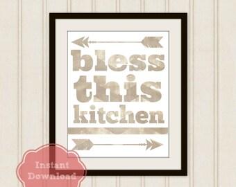 BLESS This KITCHEN DIGITAL Art Print, Kitchen Instant Download, Kitchen Blessing, Arrow Art, Cooking Art, Kitchen Decor, Countertop Art,
