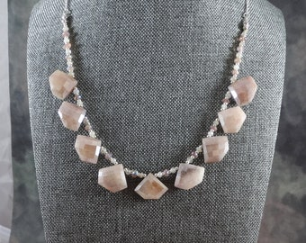 Chocolate Moon Necklace - Chocolate Moonstone, Mystic Lepidolite, White Moonstone. Sterling Silver