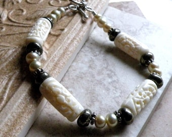 Moss Bracelet - Carved Bone, Pyrite and Pearls