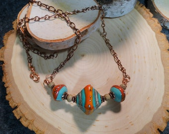 Desert Fire Necklace - Artisan Lampwork, Copper, Boho, OOAK