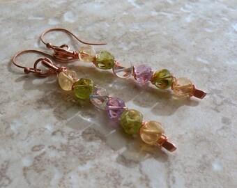 Copper Rainbow Earrings - Amethyst, Citrine, Peridot and Aquamarine Dangle