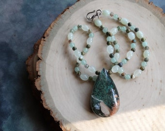 African Turquoise and Quartz Intarsia Necklace - Prehinite, Rainforest Jasper, Clear Quartz, Bali Silver