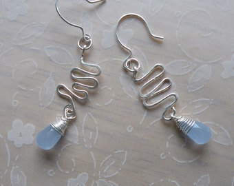 Sky Blue  Earrings -  Wire Wrapped Chalcedony - Made to order