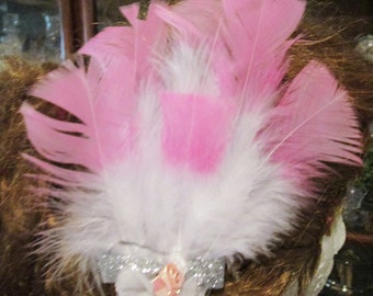 Pink & White Feathered  Marie Antoinette Pompadour Hair Fascinator Ornament Clip