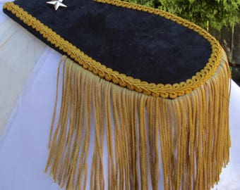 Mens Military Style Midnight Blue/Black Suede Look Epaulettes with Gold Tassel FREE SHIPPING!! iAx56McP