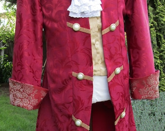 """Men's Red Brocade  Pirate Colonial Royal or Rococo Frock Coat  42"""""""