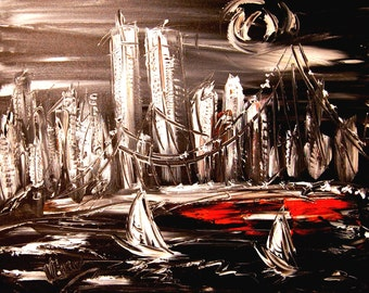 MANHATTAN 2001 -HUGE XL 30x40 original oil painting by Mark Kazav on stretched canvas Canadian Artist