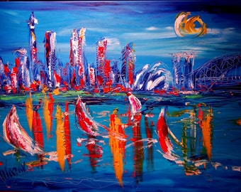 SYDNEY Paintings Huge  XL  Original Oil painting by Mark Kazav on Stretched Canvas Canadian Artist