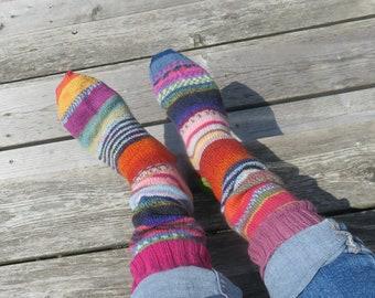 Hand Knit Socks Firey Feet