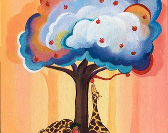 The Apple Tree Art Print, Kid's Room Decor, Cute Happy Art, Dreamy Art, Illustration Print, Storybook Style Art, Black Girl Magic, Giraffes