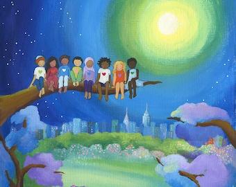 One Love, art print, diversity art, Peace and love, Kids wall art, Hearts, Happy art