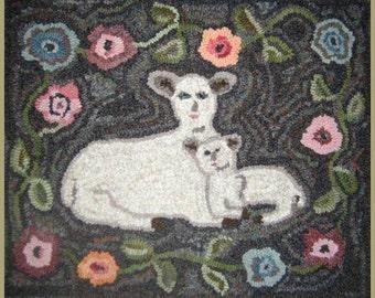 Rug Hooking Pattern - Peaceful Lambs