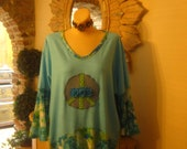 Hippie, Peace Sign Top, Upcycle Tunic, Turquoise Lagenlook Tunic, Floral Tunic, Bell Flare Sleeves, Sz Large.